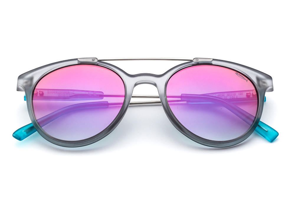 Crystal Grey - Fuchsia Flashed Lens