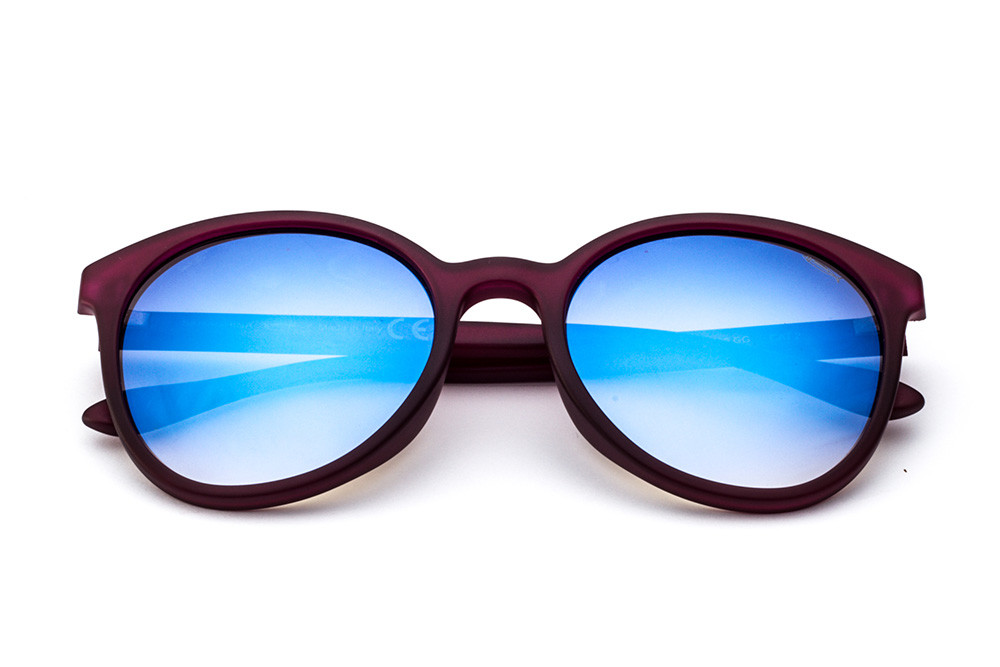 Burgundy - Blue Flashed Lens