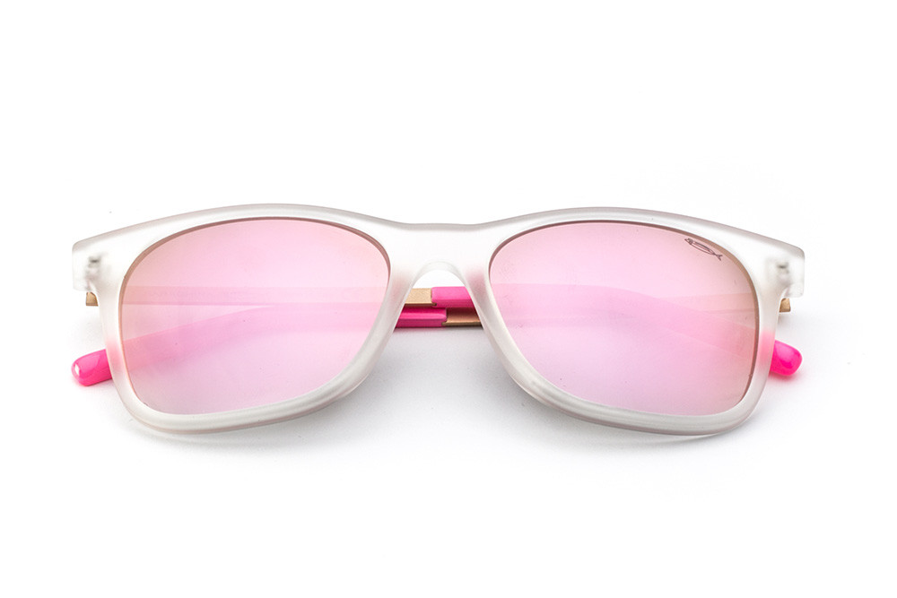 Satin Crystal - Mirrored Shaded Pink Lens