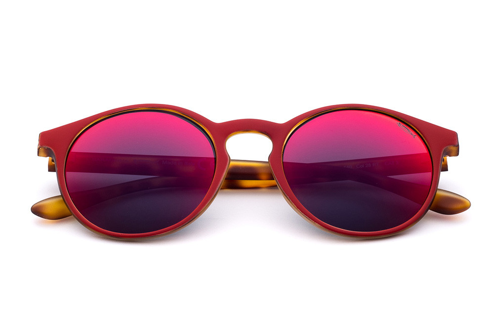 Tortoise Shell/Red - Blue/Red Mirrored Lens
