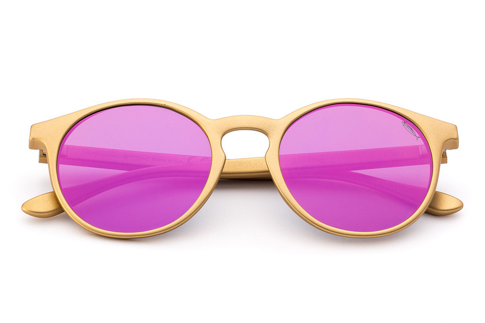 Golden - Flat Violet Mirrored Lens