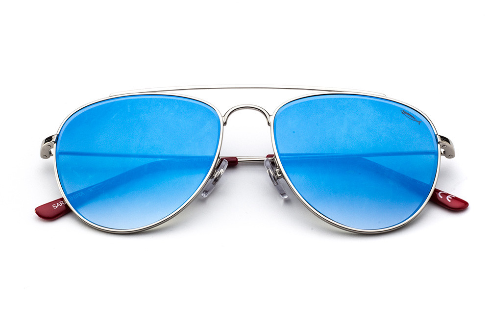 Silver - Blue Flashed Lens